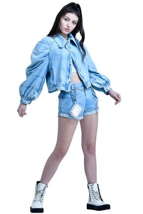 jaqueta manga bufante jeans fruto c