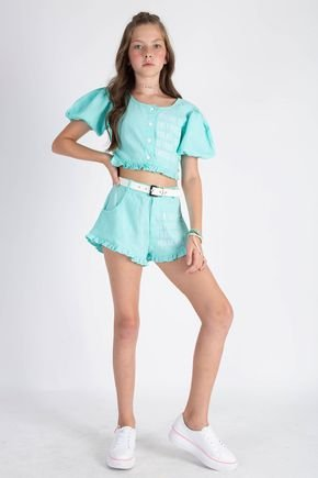 conjunto de menina cropped e shorts fruto 4u
